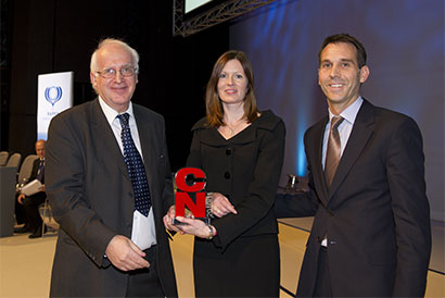 Professor Marinos Elia accepts his CN Lifetime Achievement Award from carol Glencorse and Mike Fryer