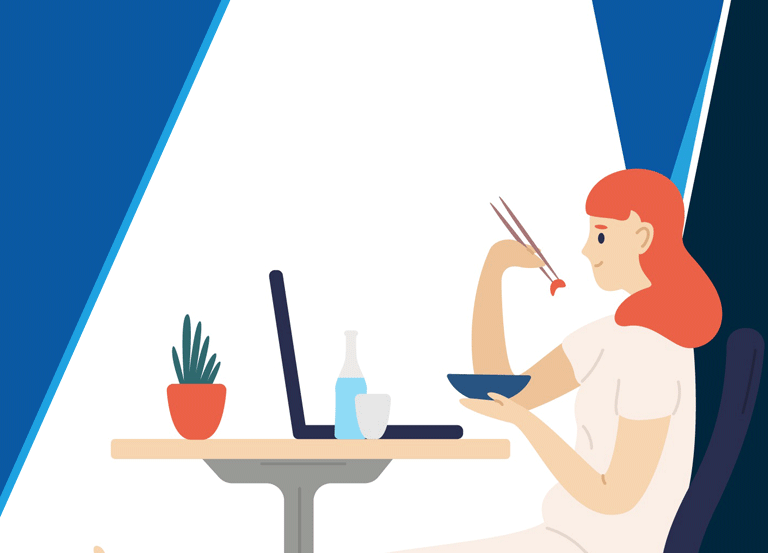 Woman eating illustration